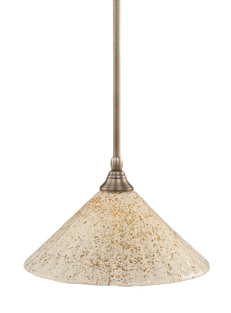 Concord 1-Light Ceiling Brushed Nickel Pendant with a Gold Crystal Glass