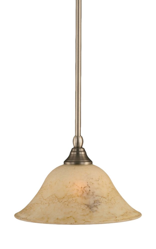 Concord 1-Light Ceiling Brushed Nickel Pendant with an Italian Marble Glass