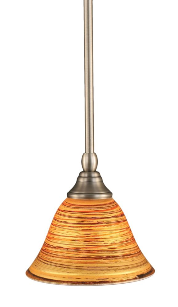 Concord 1-Light Ceiling Brushed Nickel Pendant with a Firré Saturn Glass