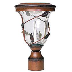 Flora 12,5 po Pole Mount Antique Bronze Outdoor Post 6 LED Lampe solaire