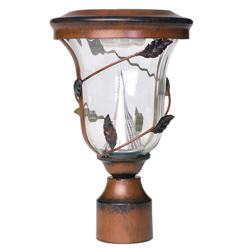 Flora 12.5 in. Pole Mount Outdoor Antique Bronze 6 LEDs Solar Lamp Post