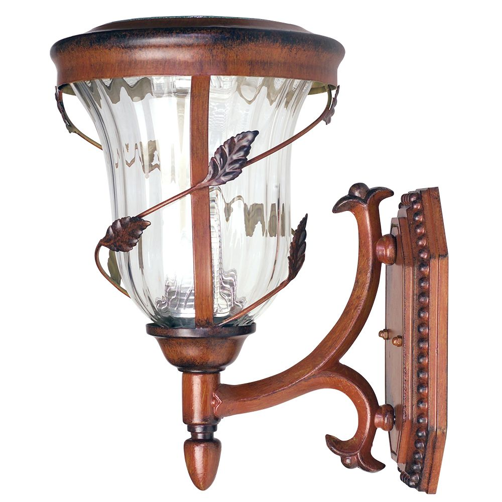 Flora Gama Sonic12.5 in. Wall Mount Outdoor Antique Bronze 6 LEDs Solar Lamp
