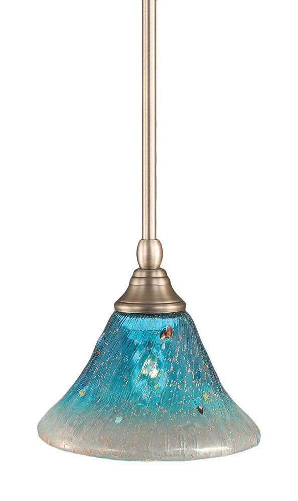 Concord 1-Light Ceiling Brushed Nickel Pendant with a Teal Crystal Glass