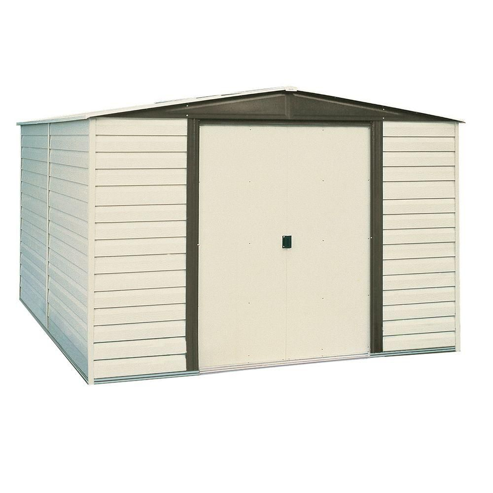 Arrow vinyl dallas vinyl coated metal shed 10 ft x 6 ft for Casetas de metal para jardin