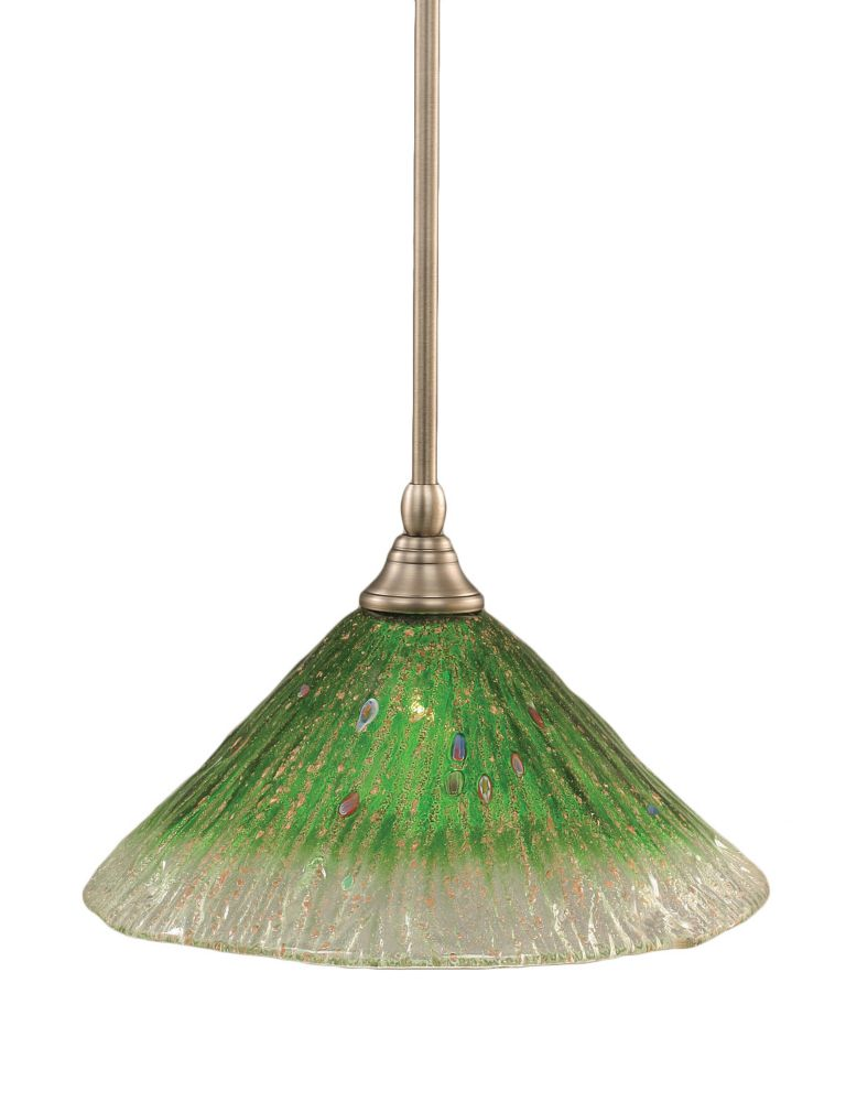 Concord 1 Light Ceiling Brushed Nickel Incandescent Pendant with a Green Crystal Glass