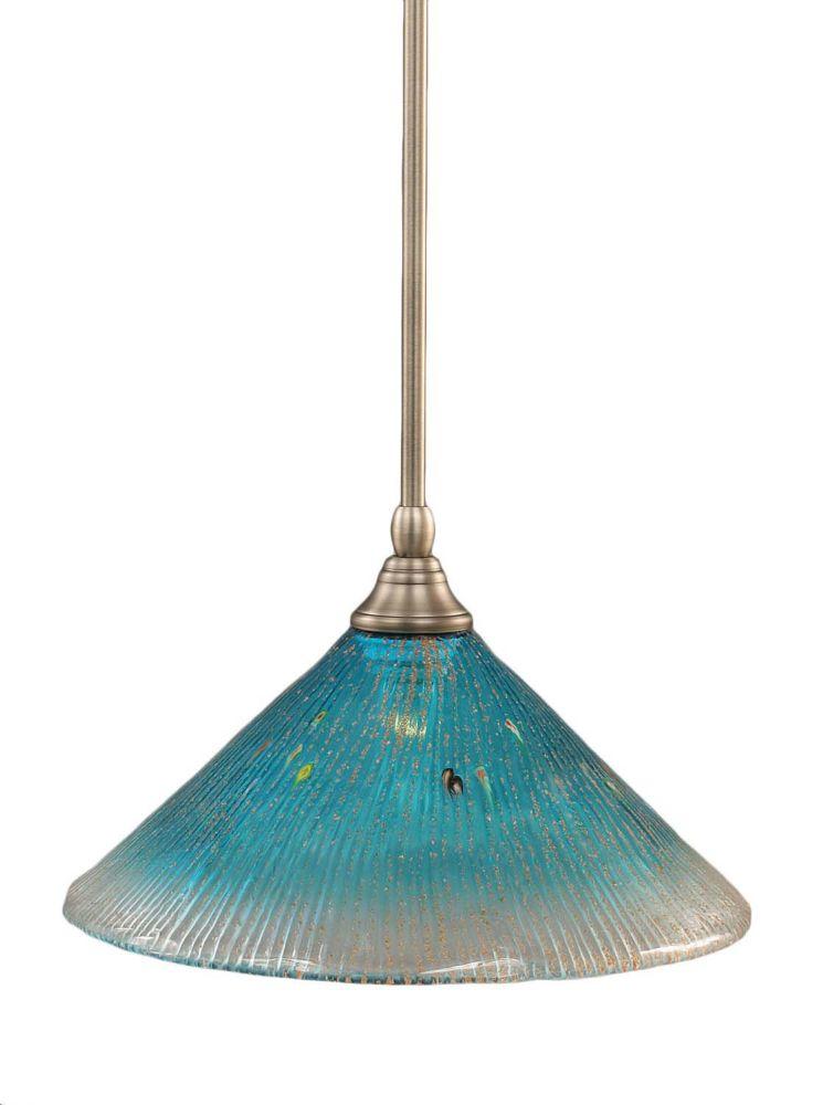 Concord plafond à 1 lumière, nickel brossé Pendeloque à incandescence avec un cristal de verre Te...