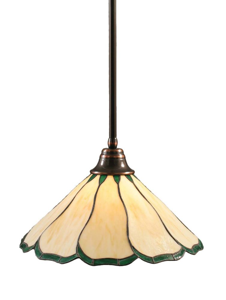 Concord 1 Light Ceiling Black Copper Incandescent Pendant with a Honey and Green Tiffany Glass