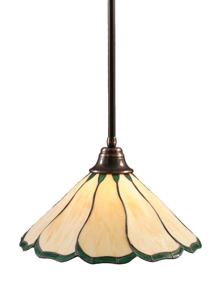Concord 1 lumière au plafond Noir Copper Pendeloque à incandescence au miel et vert verre selon T...