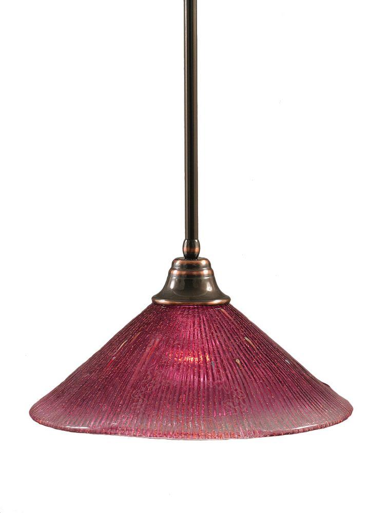 Concord 1 lumière au plafond Noir Copper Pendeloque à incandescence avec un cristal en verre de v...