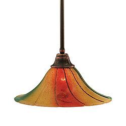 Filament Design Concord 1-Light Black Copper Pendant Light Fixture with Mardi Gras Glass