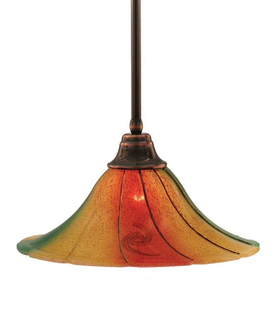 Concord 1 lumière au plafond Noir Copper Pendeloque à incandescence dont la Mardi Gras verre
