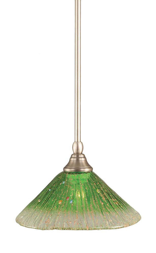 Concord 1-Light Ceiling Brushed Nickel Pendant with a Green Crystal Glass