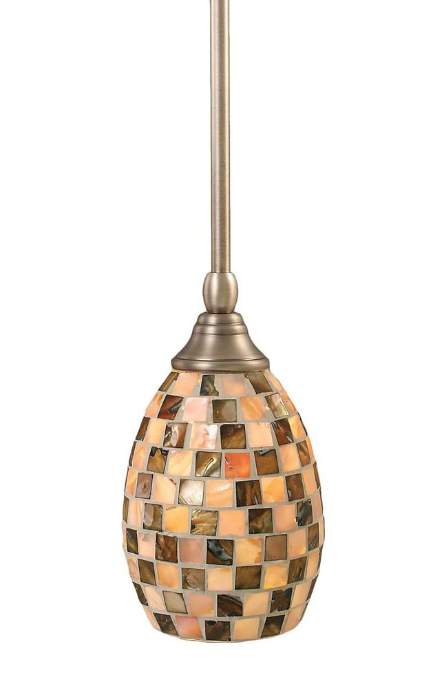 Concord 1 Light Ceiling Brushed Nickel Incandescent Pendant with a Seashell Glass