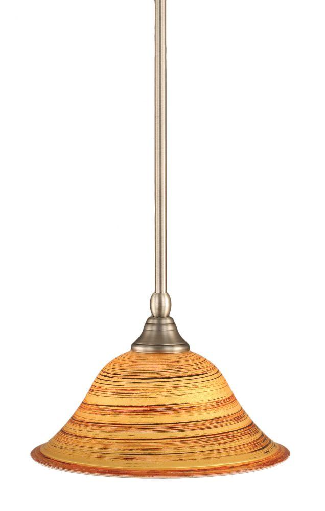 Concord plafond à 1 lumière, nickel brossé Pendeloque incandescence par une  Saturne verre