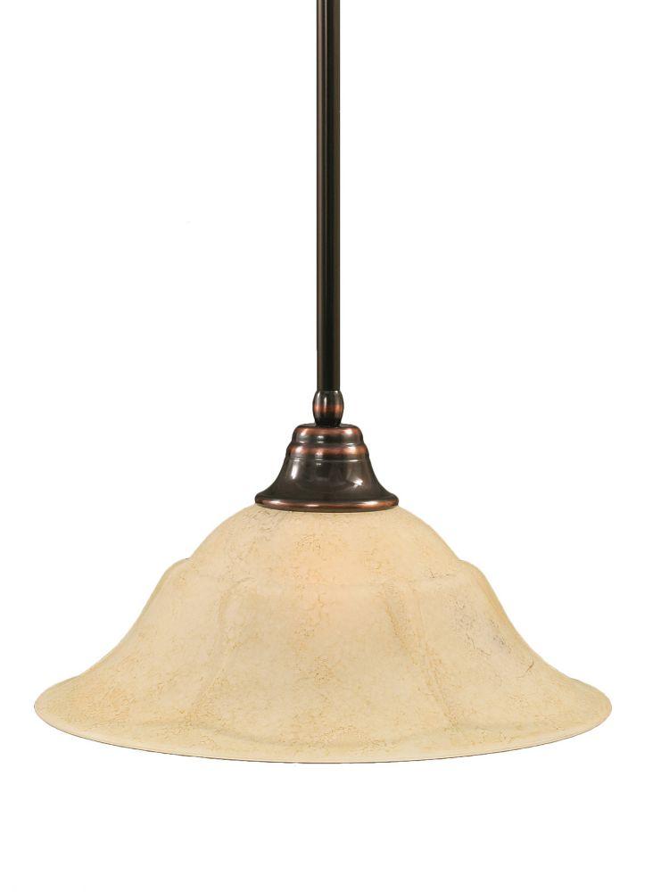 Concord 1 lumière au plafond Noir Copper Pendeloque incandescence par une Marbre Verre italien