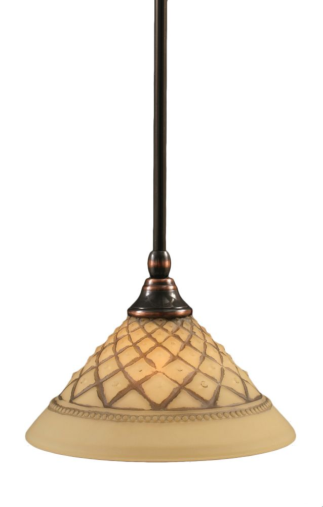 Concord 1-Light Ceiling Black Copper Pendant with a Chocolate Icing Glass