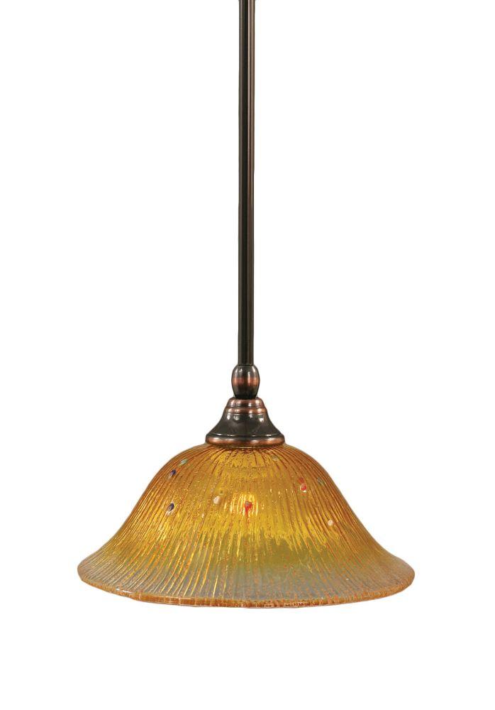 Concord 1 lumière au plafond Noir Copper Pendeloque à incandescence avec de l'or Champagne Crista...