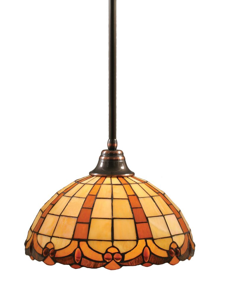 Concord 1 Light Ceiling Black Copper Incandescent Pendant with a Butterscotch Tiffany Glass