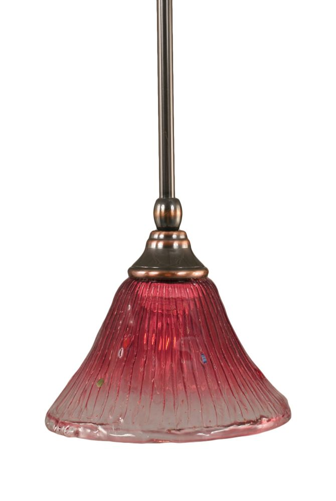 Concord 1-Light Ceiling Black Copper Pendant with a Wine Crystal Glass