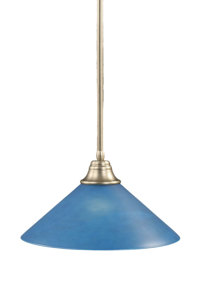 Concord 1-Light Ceiling Brushed Nickel Pendant with a Blue Italian Glass