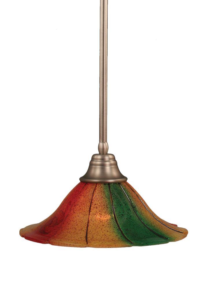 Concord plafond à 1 Lumière brossé Pendeloque incandescence nickel de Mardi Gras verre