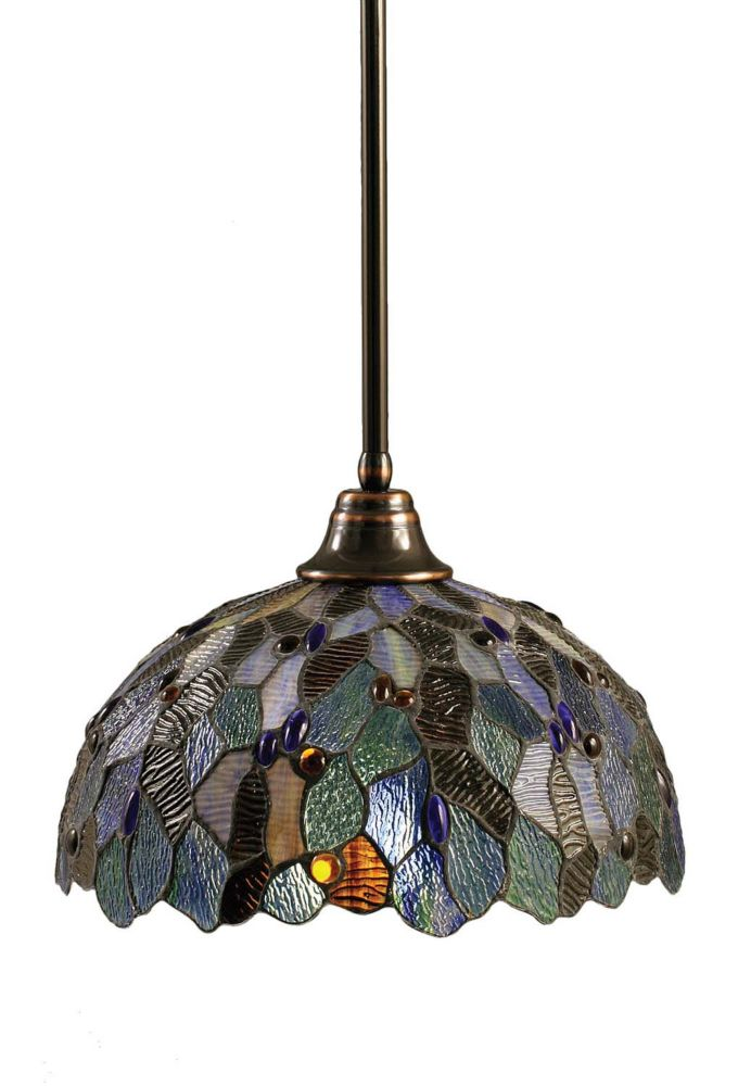 Concord 1-Light Ceiling Black Copper Pendant with a Blue Mosaic Tiffany Glass