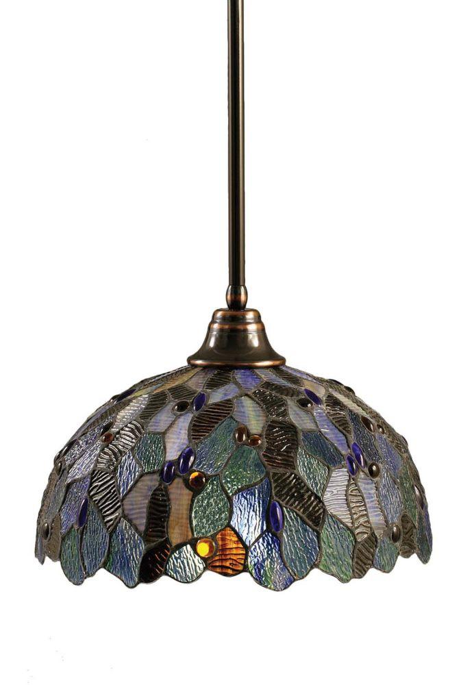 Concord 1 lumière au plafond Noir Copper Pendeloque à incandescence d'une mosaïque bleue Le verre...