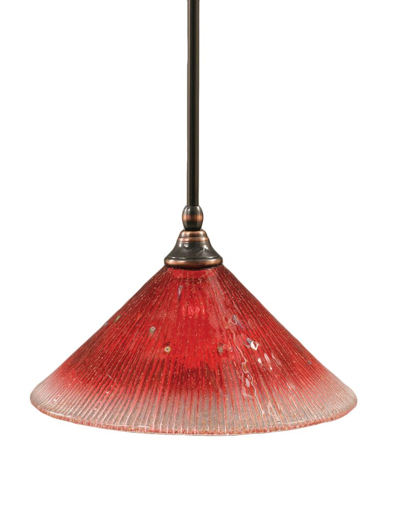 Concord 1 Light Ceiling Black Copper Incandescent Pendant with a Raspberry Crystal Glass