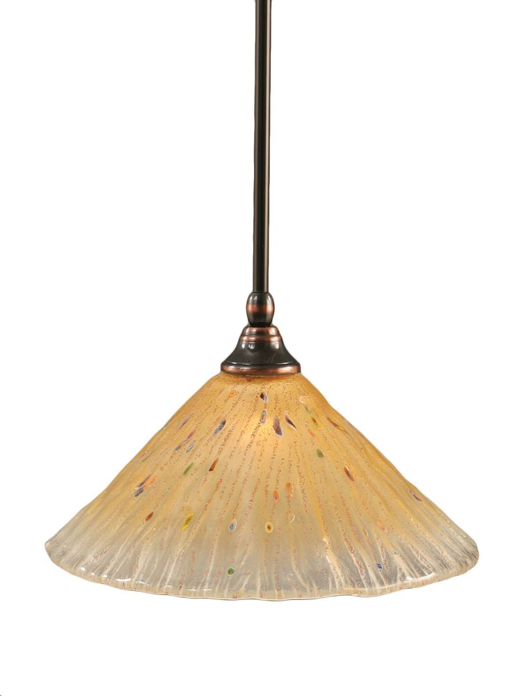 Concord 1 Light Ceiling Black Copper Incandescent Pendant with an Amber Glass