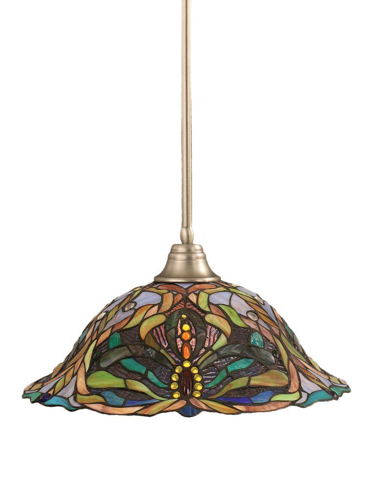 Concord plafond à 1 Lumière brossé Nickel Pendeloque à incandescence avec Kaleidoscope Le verre s...