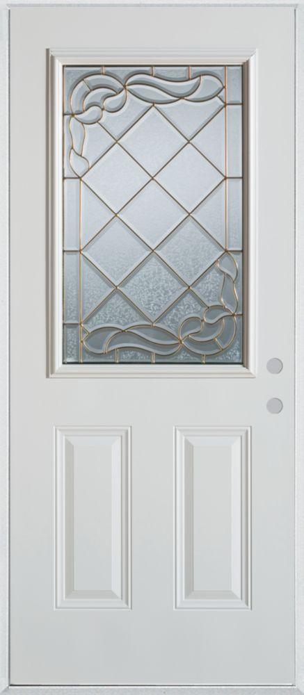 Porte dentrée en acier peint, munie de deux panneaux et dun demi-verre