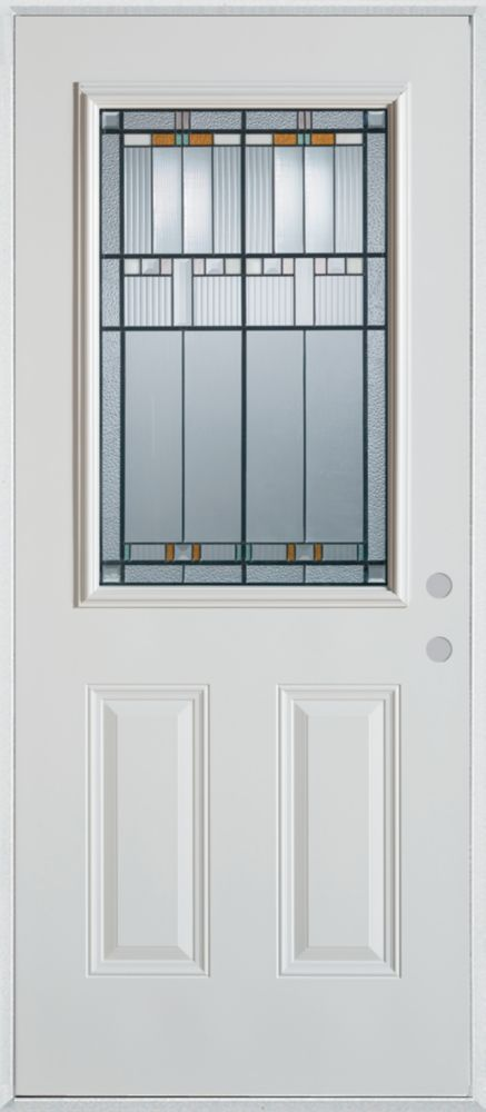Stanley Doors 37.375 inch x 82.375 inch Chicago Patina 1/2 Lite 2-Panel Prefinished White Left-Hand Inswing Steel Prehung Front Door - ENERGY STAR®