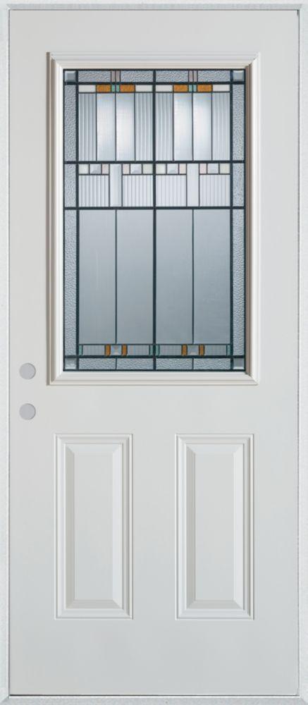 36-inch x 80-inch Chicago 1/2-Lite 2-Panel Painted Steel Entry Door