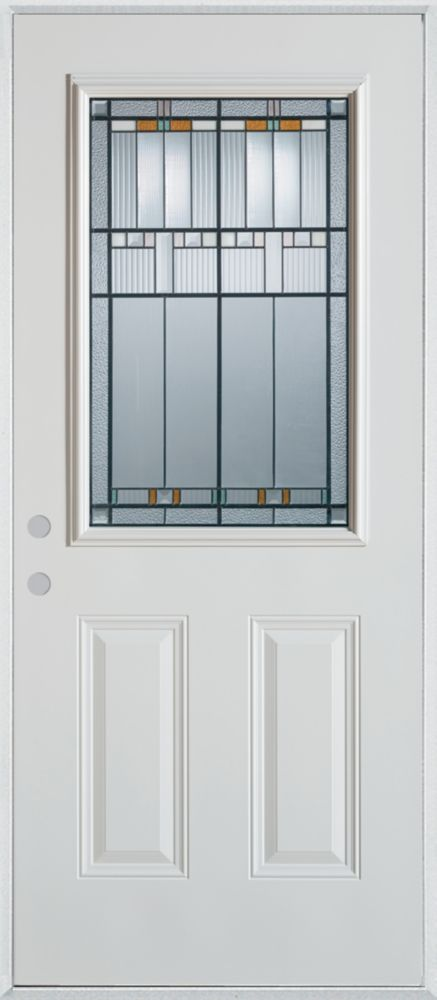Stanley Doors 37.375 inch x 82.375 inch Chicago Patina 1/2 Lite 2-Panel Prefinished White Right-Hand Inswing Steel Prehung Front Door - ENERGY STAR®