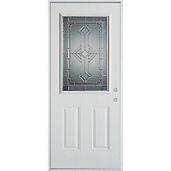Stanley Doors Porte dentrée en acier peint, munie de deux panneaux et dun demi-verre - ENERGY STAR®