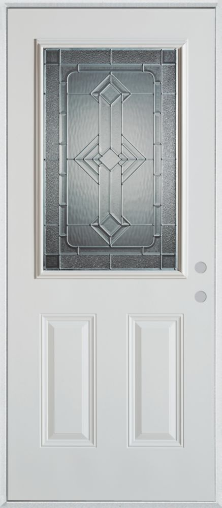 Stanley Doors 37.375 inch x 82.375 inch Neo Deco Zinc 1/2 Lite 2-Panel Prefinished White Left-Hand Inswing Steel Prehung Front Door - ENERGY STAR®