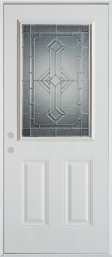 36-inch x 80-inch Neo-Deco 1/2-Lite 2-Panel Painted Steel Entry Door