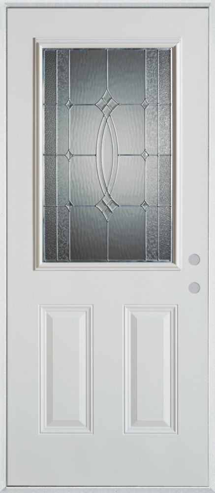 36-inch x 80-inch Diamanti Classic 1/2-Lite 2-Panel Painted Steel Entry Door