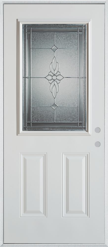 Half lite 2 panel painted steel entry door 1536s s 36 l z for Affordable exterior doors