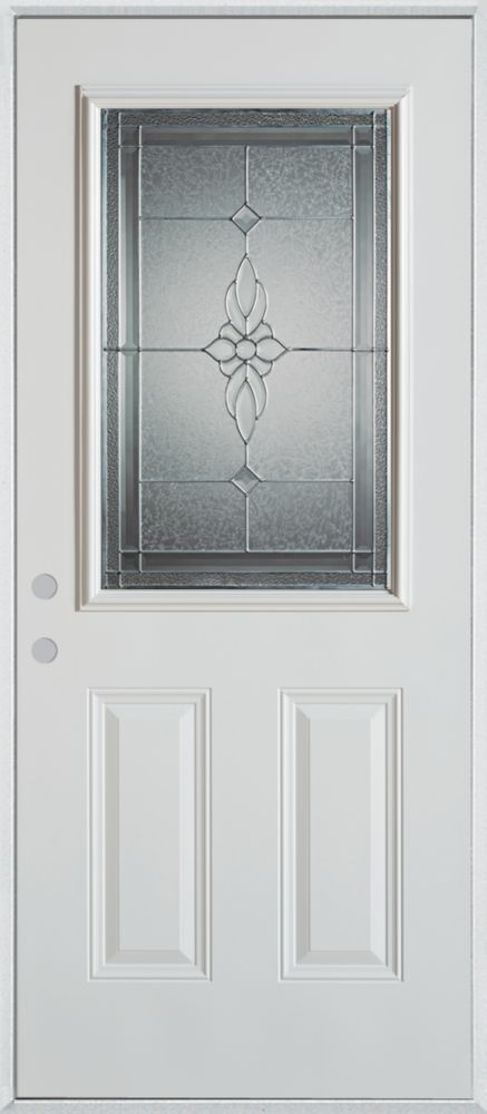 Stanley Doors 36 Inch X 80 Inch Victoria 1 2 Lite 2 Panel Painted Steel Entry