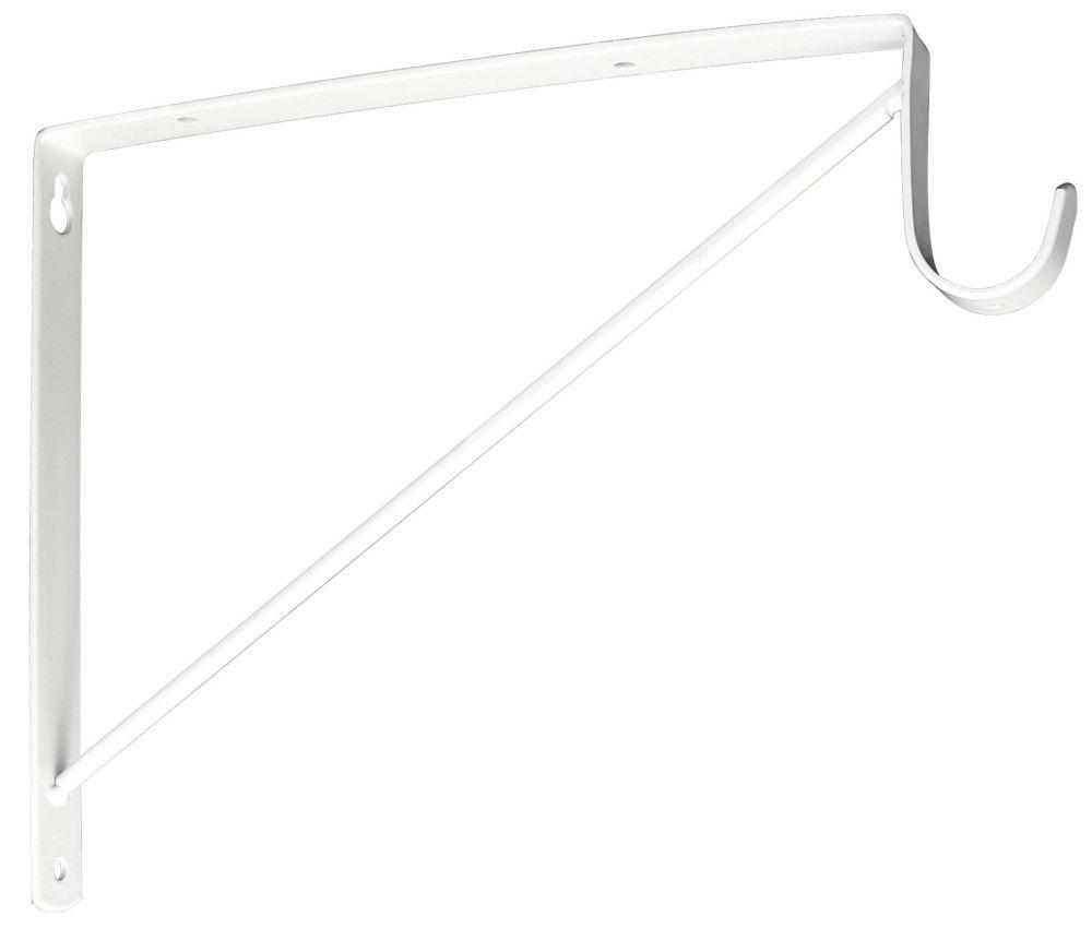 9-3/4 Inch X12-5/8 Inch  White Self Bkt Pole Spt