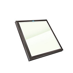 Columbia Skylights 4ft x 4ft Fixed Curb Mount Outside Fastening LoE3 Double Glazed Clear Glass Skylight with Brown Frame