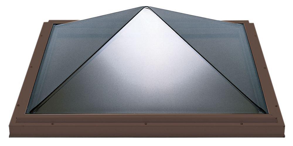 Puits de lumière 4pi x 4pi Fixe, monté sur cadre double vitrage transparent pyramide acrylique avec cadre brun