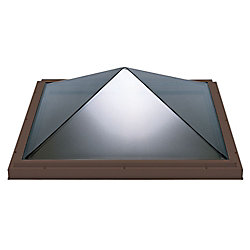 Columbia Skylights 4ft x 4ft Fixed Curb Mount Double Glazed Clear Acrylic Pyramid Skylight with Brown Frame