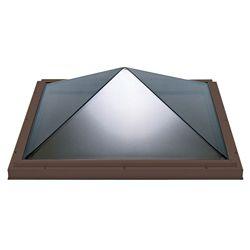 Columbia Skylights Puits de lumière 4pi x 4pi Fixe, monté sur cadre double vitrage transparent pyramide acrylique avec cadre brun