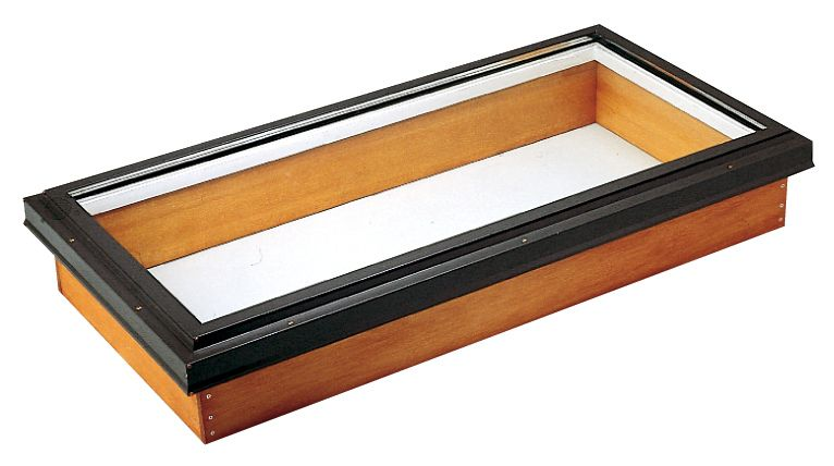21.25-inch x 27.5-inch Fixed Wood Deck Mount Clear Glass Skylight