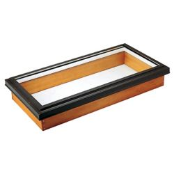 Columbia Skylights Fixed Wood Deck Mount LoE3 Clear Glass Skylight 44.75 Inch x 46 Inch with Brown Frame