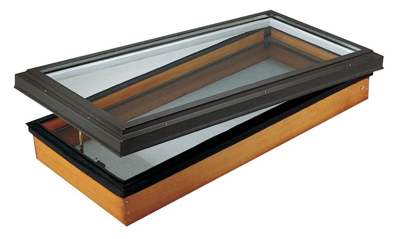 21.25-inch x 44.75-inch Venting Manual Wood Deck Mount Clear Glass Skylight