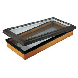 Columbia Skylights Venting Manual Wood Deck Mount LoE3 Clear Glass Skylight 44.75 Inch x 46 Inch with Brown Frame