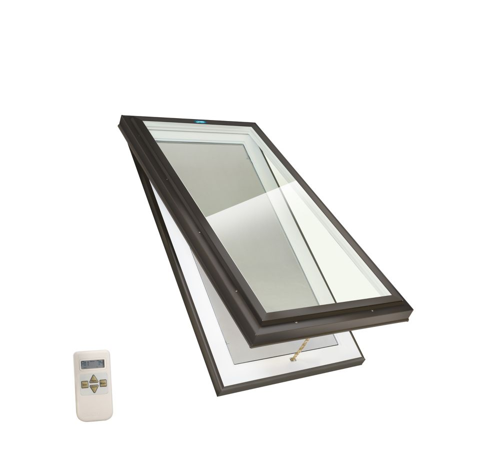 Venting Electric Elite Curb Mount LoE3 Clear Glass Skylight - 2 Ft x 4 Ft